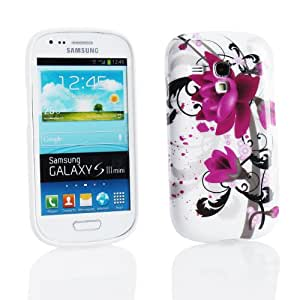 Kit Me Out ES ® Funda de gel TPU + Protector de pantalla con gamuza de microfibra para Samsung Galaxy S3 Mini i8190 - Flores moradas