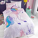 T&A Textiles and Hosiery Ltd Gaveno Cavailia Unicorn Themed UK Single/US Twin Duvet Cover and Pillowcase Plus Matching Single Fitted Sheet