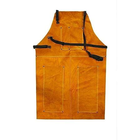 Delantal de soldadura de piel, delantal Blacksmith, resistente retardante de llama, soldador de trabajo, unisex, ajustable, ropa protectora, carpintería, ...