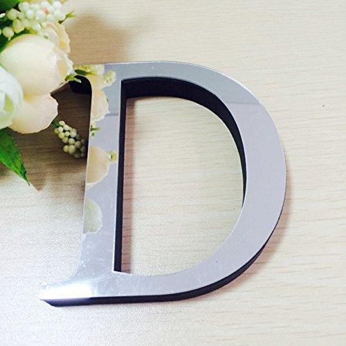 Beautyrain Calcomanías de abecedario 26 Letras (AZ) Espejo 3D acrílico Etiqueta de la Pared DIY Alfabeto Pared Mural para...