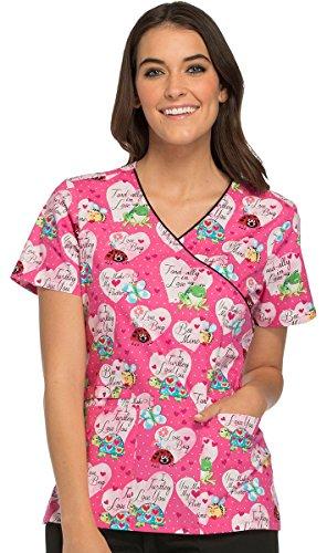 Print Wrap Top (Fashion Prints By Cherokee Women's Mock Wrap Turtle Print Scrub Top Xx-Large Print)