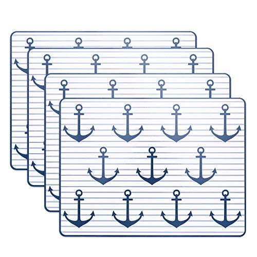 WHW Whole House Worlds Beach Chic Anchor Away with Stripes Nautical Placemats, Set of 4, Cork Backed Board, Heat Resistant, Cape Cod Coastal Style, Rectangles, 15 3/4 x 11 3/4 Inches
