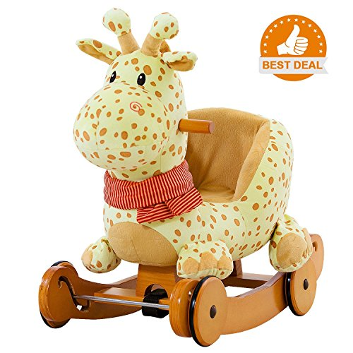 labebe Child Rocking Horse Plush, Stuffed Animal Rocker Toy, 2 in 1 Yellow Giraffe Rocker with wheel for Kid 6-36 Months, Rocking Toy/Wooden Rocking Horse/Rocker/Animal Ride/Deer Rocker for (Dragon Soft Rocker)