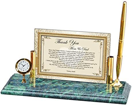 AllGiftFrames Personalized Thank You Wedding Gift to Parents Father Mother Gift of Poetry – Mini Clock Genuine Marble Base Brass Pen Set Thank You Present for Parents from Son or Daughter