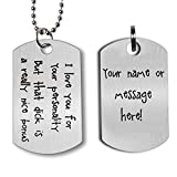 Gift for Boyfriend Husband Personalized Dating Whisper Dog Tag Necklace Pendant Naughty Words Jewelry Couples Keychain Gift for Valentine's Day Anniversary (Engraving)