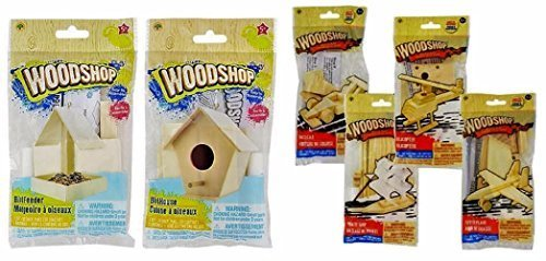 The Wood Shop Wood Craft Model Activity Kits, Helicopter, Fighter Plane, Pirate Ship, Race Car, Bird House, Bird Feeder, 6-kit Set (Wood Boys Building Kits)