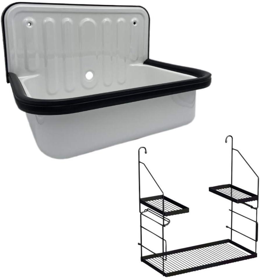 Alape Bucket Sink Small Service Sink Glazed Steel Utility Sink and Utensilo Storage Caddy, with Overflow, Black Trim