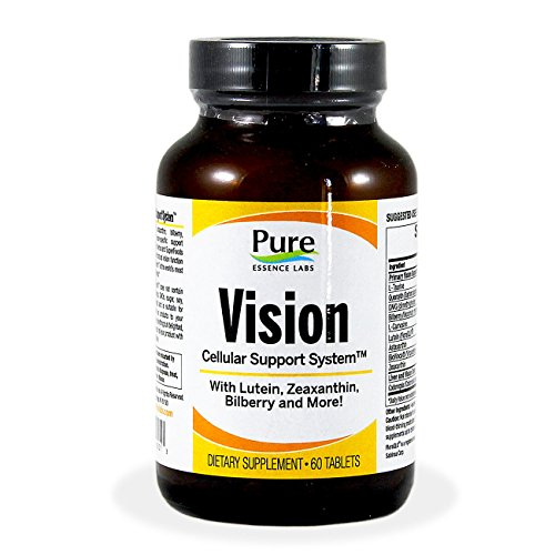 Pure Essence Labs Vision Cellular Support System - With Lutein, Zeaxanthin, Bilberry & More - 60 Tablets