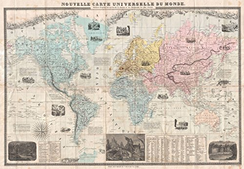 - Historic Map | Delamarche Case Map of The World, 1859 | Historical Antique Vintage Decor Poster Wall Art | 16in x 24in