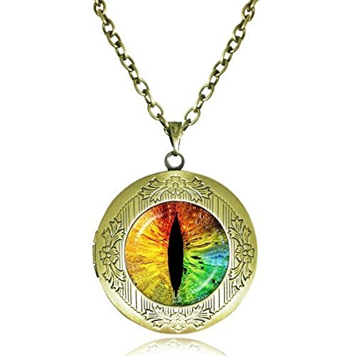 Eye Pendant,Evil Eye Locket Necklace,Cat Eye Necklaces,Dragon eye jewelry,antique bronze locket necklace - Cats Antique Eye