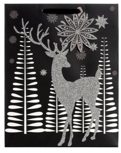 Jillson Roberts Bulk Christmas Medium Gift Bags, Reindeer Glitter, 120-Count (BXMT688) by Jillson Roberts