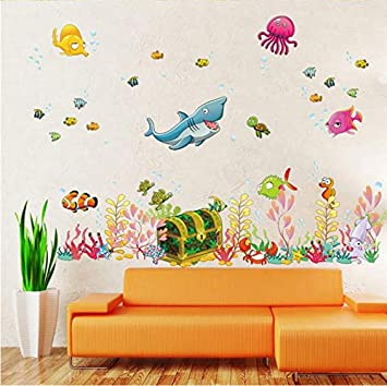 Art Stickers muraux Monde de la mer profonde Poisson Animal ...