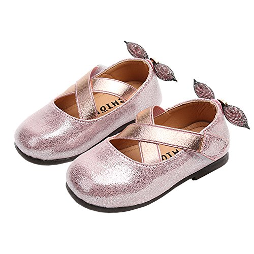 Sparkly Ballerina (Toddler Girl Cross Strap Sparkly Shiny Princess Mary Jane Ballet Flat Dress Shoe with Heel Bowknot Pink Size 21)