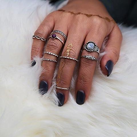 Hunputa 9pcs/Set Women Retro Bohemian Amber Vintage Silver Stack Rings Above Knuckle Rings Set Boho (Boho Rings Silver)