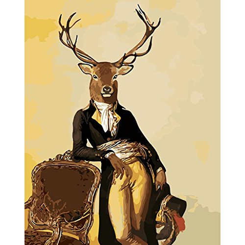 Paint By Numbers Kit DIY Digital Oil Painting Coloring on Canvas By Handmade for Students, Teacher, Adult Beginner, Painting Lovers – Deer Series Animal Painting 16x20 Inch with Brushes and - Diy Potter Glasses Harry