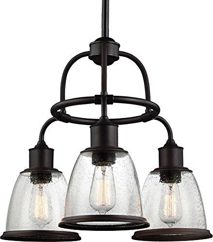 - Feiss F3020/3ORB Hobson Glass Chandelier Lighting, Bronze, 3-Light (22