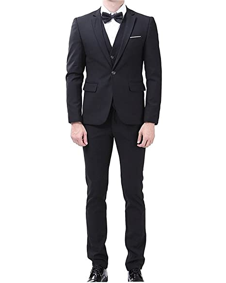 Kalanman Men's 3 Piece Formal Suit Slim Fit Single Breasted