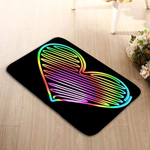 zexuandiy Doormat Entrance Mat Floor Mat Rug Non Slip Bathroom Mats 15.7 X 23.6 in Heart Love Valentine neon led Psychedelic Rainbow lig