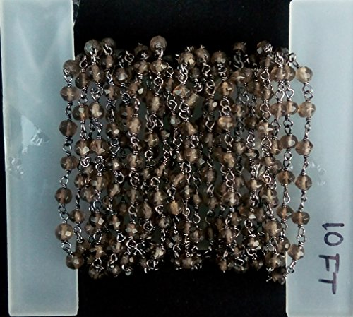 Smoky Quartz Faceted Rondelle Beads - 6