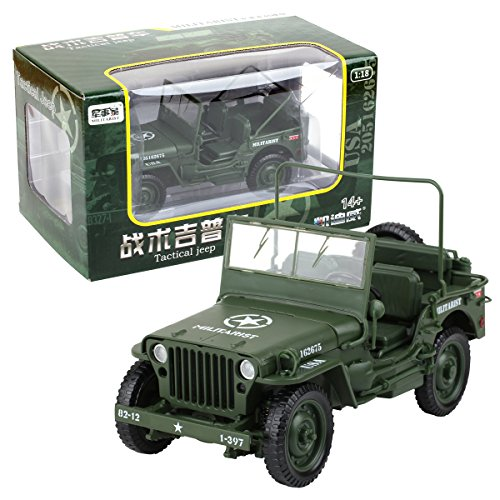 (KAIDIWEI 1/18 Scale Diecast Model Willys Jeep Military US Army Vehicle Toys)