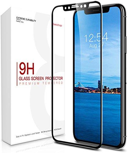 iPhone X Schutzfolie, Basstop Full Coverage 3D Curve Premium gehärtetes Glas Display Schutz mit [9H Härte] [Crystal Clear] [Blasenfreie Installation] [3D Touch Compatible] für iPhone X
