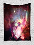 Ambesonne Space Decorations Collection, Image of Magical Gas Cloud Nebula in Outer Space with Light Galaxy Solar Zone Print , Bedroom Living Room Dorm Wall Hanging Tapestry, Purple Red