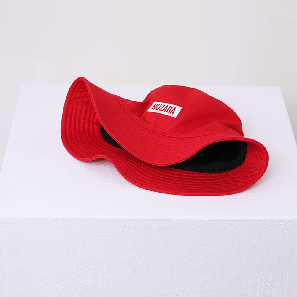 NUZADA Unisex Outdoor Summer Style Bucket Hats for Lovers,Hip Hop Old School Vintage Fisherman Caps,Red