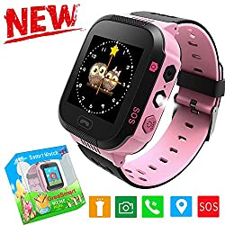Kids Smartwatches with GPS Flash Night Light Touch Screen Anti-lost Alarm Smart Watch Bracelet for Children Girls Boys Compatible for iPhone Android (002 Pink without Pedometer)