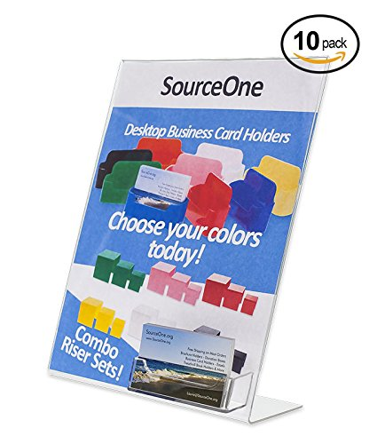 Source One 10-Pack Acrylic 8.5 x 11 Slanted Sign with Business Card Holder (SB-8511C-10)