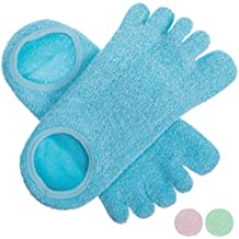 5 Toe Moisturizing Gel Spa Socks for Women or Men | Perfect for Healing Dry Cracked Heels and Feet | Infused with Aromatherapy Blend of Lavender and Jojoba Oil | 1 Pair, Aquamarine Blue