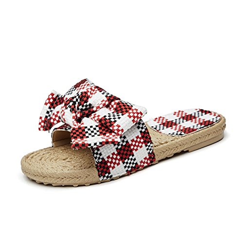 Donyyyy Flachem Boden Runden Punkt Gittern und Casual antiken Sandalen  Plaid red (Pian Xiaoma)|Thirty-eight
