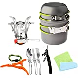 Bisgear 12pcs Camping Cookware Stove Canister Stand Tripod Folding Spork Wine Opener Carabiner Set Outdoor Camping Hiking Backpacking Non-Stick Cooking Non-Stick Picnic Knife Spoon Dishcloth