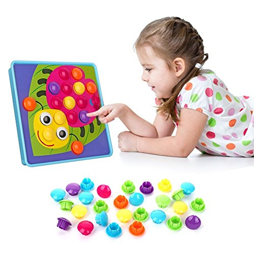 NextX Button Art Toy Color Matching Mosaic Pegboard Early Learning Educational Preschool Games for Kids' Motor Skills (Pink) by NextX (Image #4)