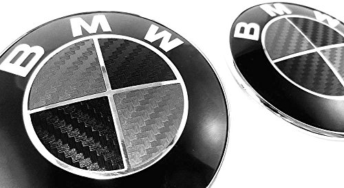 (BLACK and SILVER Carbon Fiber Sticker Overlay Vinyl for All BMW Emblems Caps Logos Roundels)