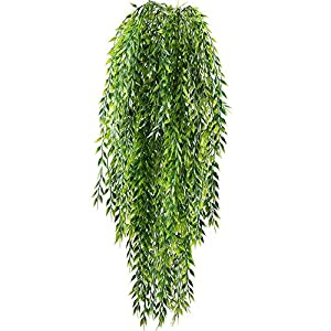 HO2NLE 2pcs Fake Hanging Plants Artificial Willow Leaves Faux Foliage Plastic Greenery Garland Wall Porch Patio Arch Balcony Basket Garden Party Wedding Decorations 51