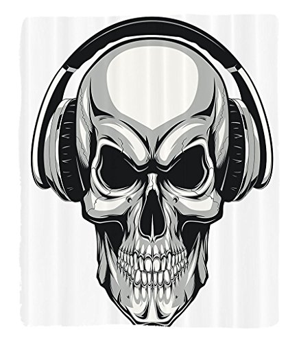 Chaoran 1 Fleece Blanket on Amazon Super Silky Soft All Season Super Plush Skulls Decorations Collection Dj Punkkull Listening Music with Headphones Hippie Dead Crossbones Party Fabric et Grey by chaoran