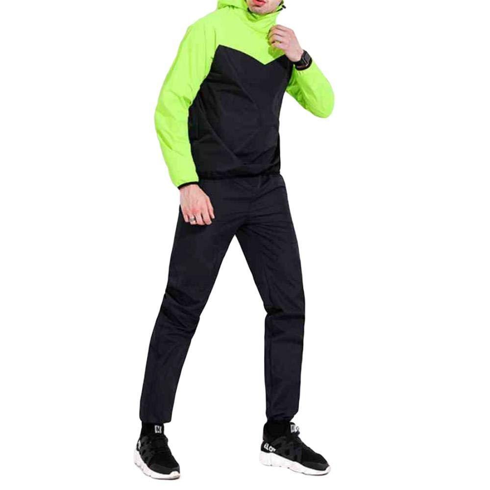 Men Fluorescent Green Medium LONGTA Gym Suit Weight Loss Athletic Jogging Tracksuit Casual Windproof Jacket Set