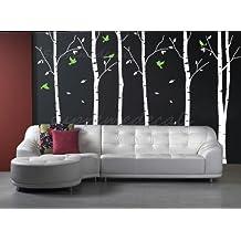 Custom Color PopDecals - Six Big Birch Trees with Flying birds vinyl art wall decals home murals