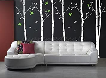 Custom Color PopDecals   Six Big Birch Trees With Flying Birds   Nursery Wall  Decals Tree