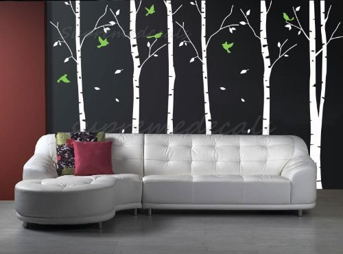 Custom Color PopDecals - Six Big Birch Trees with Flying birds - nursery wall decals tree vinyl wall art wall decor sticker wall vinyl stickers pop baby gift idea