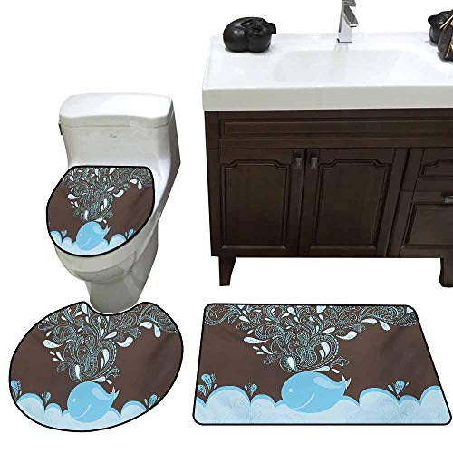 3 Piece Extended Bath mat Set Whale Baloon Like Whale in The Ocean with Bubbles Cartoon Batik Tribal Style Image Increase Blue and Brown ()
