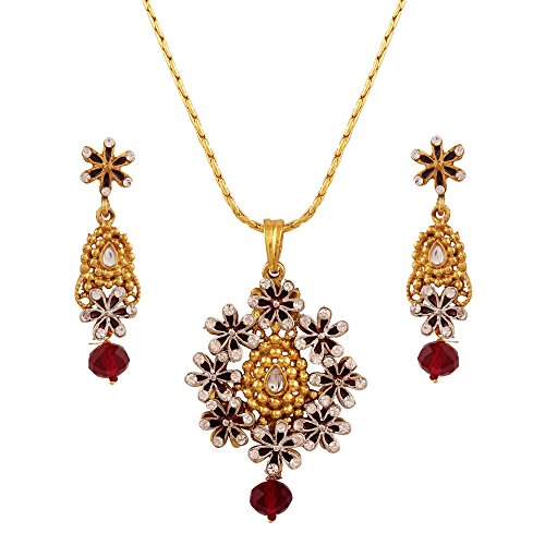 Variation Maroon Gold Plated Pendant Set For Women – VD13900 (CZ Studded, Chain, Earrings)