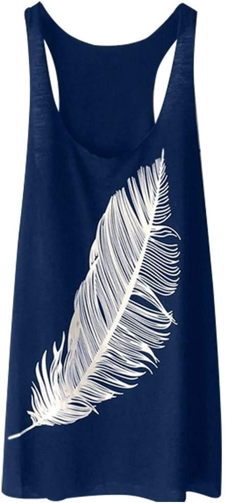 Womens Summer Feather Print Long Vest Ladies Fashion Ladies Tank Women Sleeveless Casual Hot Blouse Easter Janly Women Tops S, Black