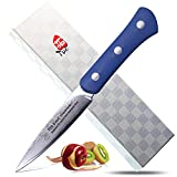 TUO Cutlery Uchef Series Paring Knife 3.5'' Blue Handle - Multi Color Japanese 67 Layers VG-10 Damascus Steel Fruit Knife