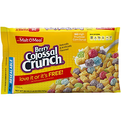 Malt-O-Meal Berry Colossal Crunch Cereal, 26 Ounce Breakfast Cereal Bag (Pack of 8)
