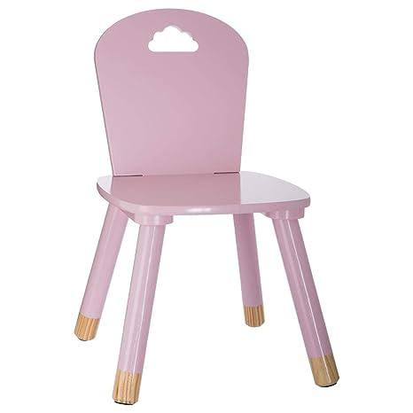 Silla de madera para niños - Decoración nube - Color ROSA