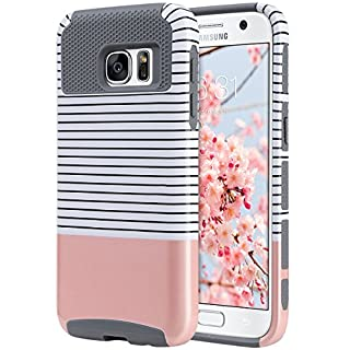 ULAK S7 Case, Galaxy S7 Case, Hybrid Case for Samsung Galaxy S7 2016 Release 2-Piece Dual Layer Style Hard Cover (Minimal Rose Gold Stripes+Grey) Will not Fit S7 Edge