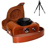 First2savvv XJPT-P7800-09G6 brown full body Precise Fit PU leather digital camera case bag cover with shoulder strap for Nikon Coolpix P7700 P7800 + mini tripod