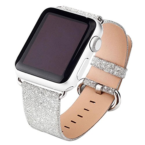 Price comparison product image Kobwa 38MM/42MM Watch Band for Apple Watch, Night's Dream Twinkling Watchband Shiny Glitter WristBand with Silver Adapters Single Tour Replacement Bracelet Strap for IWatch Series 1&2