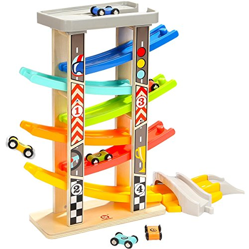 Top Bright Wooden Race Track Toys Gifts for 2 3 Year Old Girl Boy Toddle Toys Ramp Racer with 6 Mini Cars (Race Car Wooden)